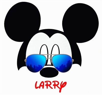 DISNEY MICKEY MOUSE SUNGLASSES  PERSONALIZED FABRIC/T-SHIRT IRON ON TRANSFER](Personalized Fabric)