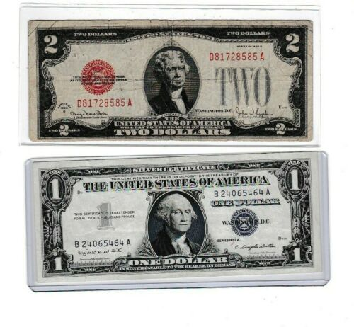 1928G $2 red seal & 1957A $1 silver certificate note lot 1 of ea,