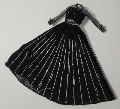 BARBIE DOLL CLOTHES BLACK FAUX VELVET SILVER GLITTER GOWN DRESS FORMAL FASHION