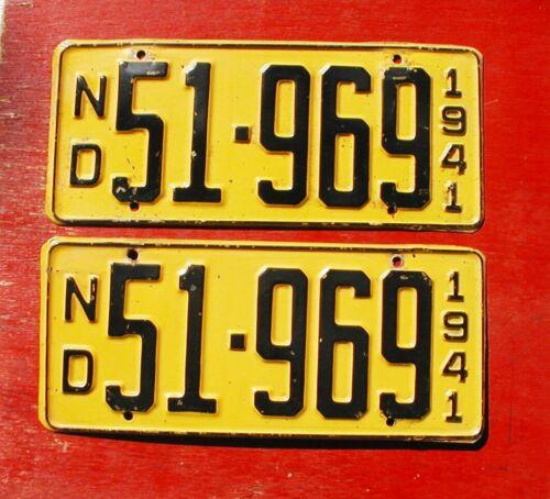 1941 North Dakota Nice Original PAIR 51-969  License Plates