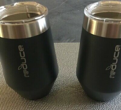 2 Gray Reduce Wine Tumblers With Lids](Tumblers With Lids)