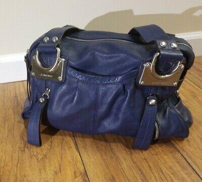 B Makowsky blue East West large leather handbag purse shoulder euc