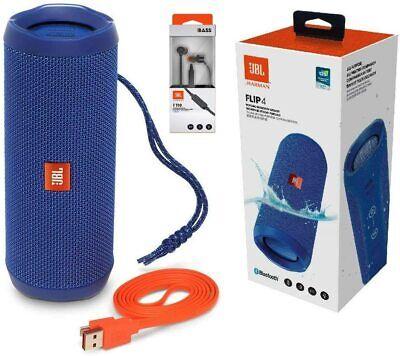 JBL FLIP 4 PORTABLE BLUETOOTH IPX7 WATERPROOF SPEAKER, BLUE