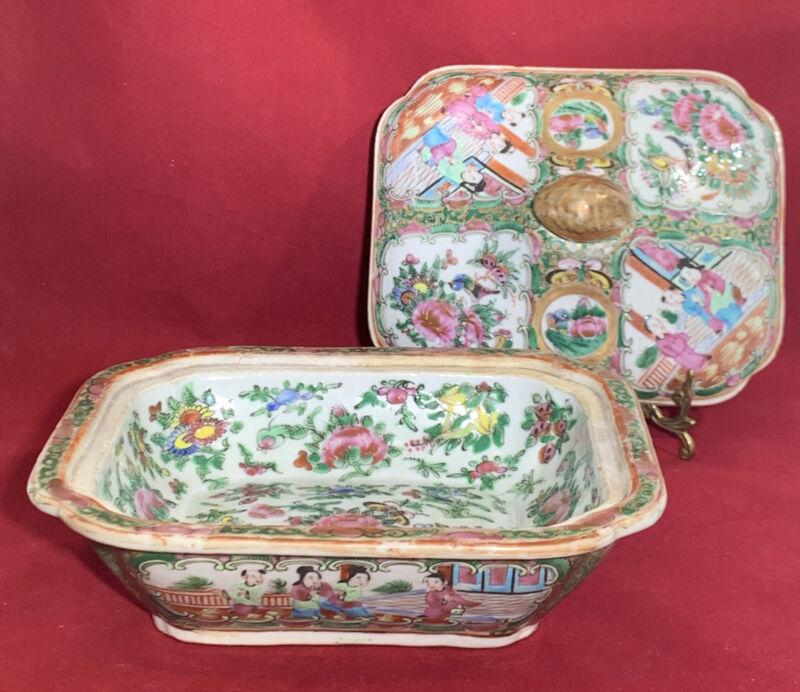 Antique Chinese Rose Medallion Porcelain Covered Bowl
