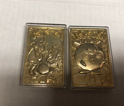 Pokemon Limited Edition 1999 Charizard 23K Gold Plated Trading Card & Jigglypuff