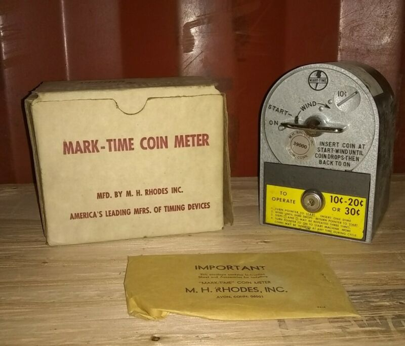 Vtg NOS Store Display Mark-Time Coin Meter Timer In Original Box With Keys