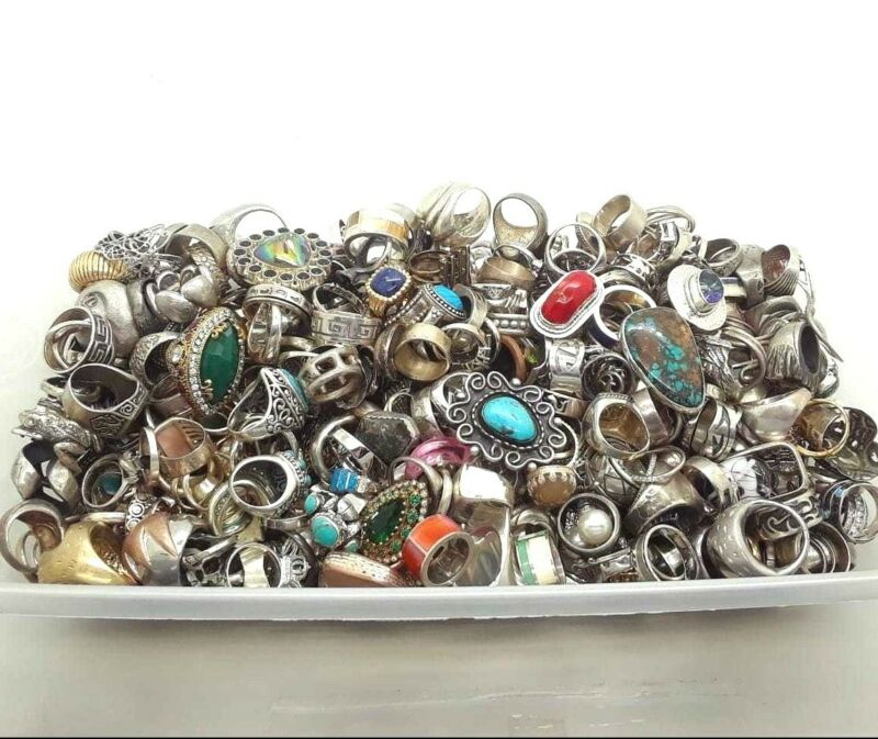 C 50 GRAM RINGS LOT ASSORTED STERLING SILVER 925 WHOLESALE RESALE VINTAGE NOW