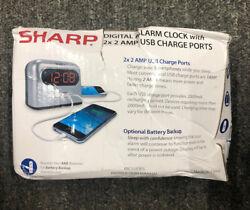 Digital Alarm Clock 2 x 2 Amp USB Charge Ports White Black Ultra Fast Charging