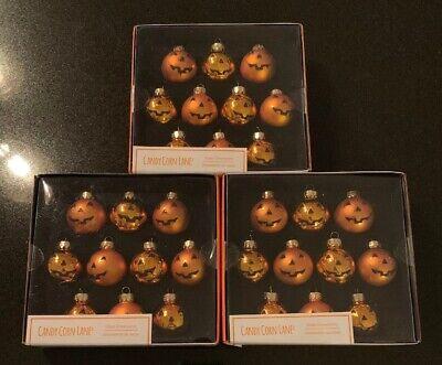 Candy Corn Lane HALLOWEEN Glass Pumpkin Ornaments •Lot Of 3 *BRAND NEW*