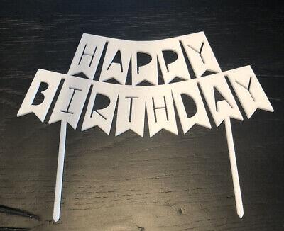 Cake Topper Deko Torte Happy Birthday Weiss Wimpel Girlande Geburtstag Kuchen