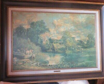 Très Grand cadre – peinture à l'huile - représentant un site avec un coin de vil