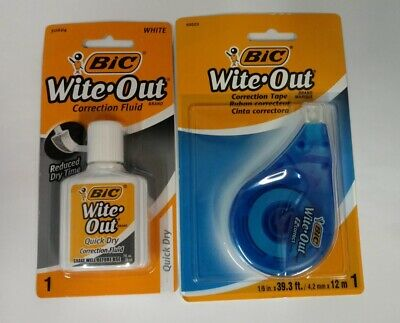 Bic Wite Out Correction Fluid .7 Fl Oz Correction Tape 39.3 Feet