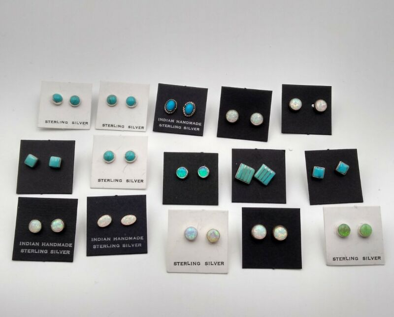 Wholesale Lot 15 Pairs Of Sterling Silver Turquoise And Lab Oval Stud Earrings