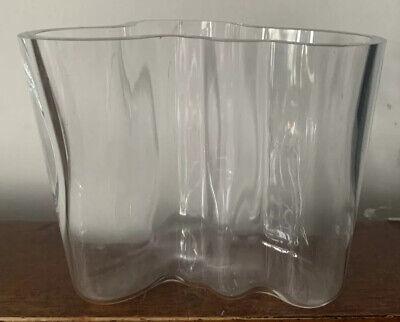 VINTAGE MID CENTURY IITTALA SAVOY GLASS VASE SIGNED ALVAR AALTO Finland 12 Cms
