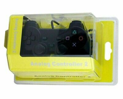 NEW Wired Black Dual Shock Controller for PS2 PlayStation Replacemrnt Joypad uk