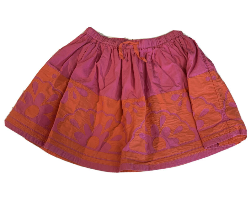 Mini Boden Girls Size 9-10 Skirt Pink Orange Floral Applique Lined