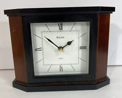 Bulova Desk Clock Holyoke Quartz White Dial Non-Chiming Brown Hardwood B1881