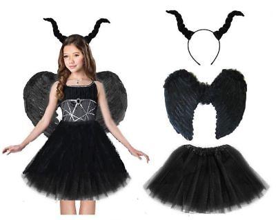 TEUFEL KOSTÜM SET HÖRNER HAAREIF TÜTÜ Halloween Mädchen Teufel Fasching Karneval