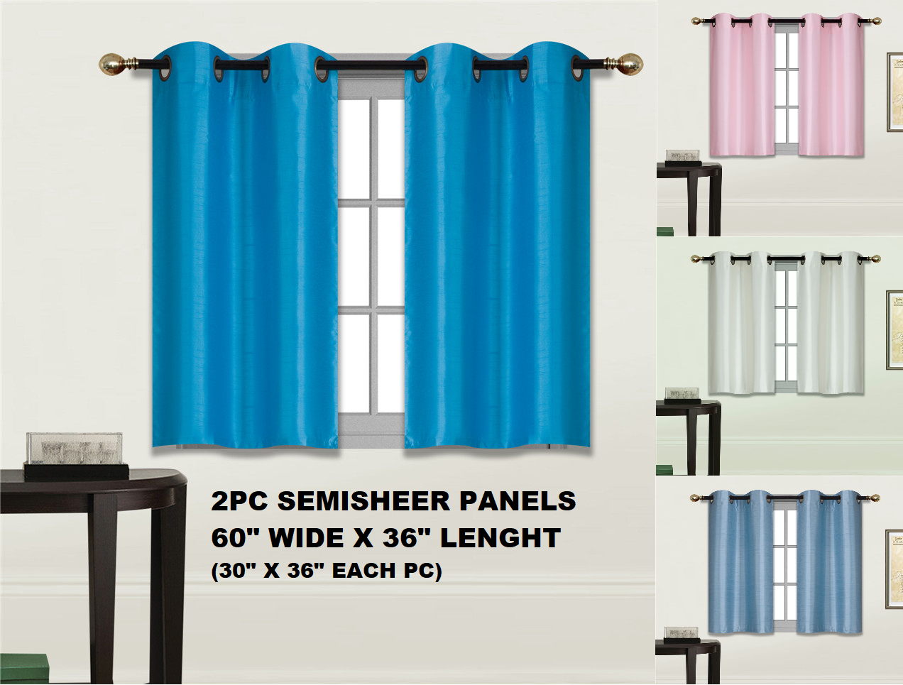 2pc LIGHT FILTERING SMALL SHORT HALF WINDOW CURTAIN GROMMET