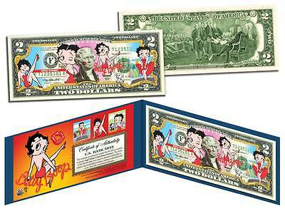 Betty Boop Genuine Legal Tender U S   2 Bill  Officially Licensed  With Holder
