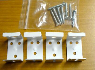 "(4) White Steel Center Support Metal Brackets for 1"" Mini Blinds w/ Screws"