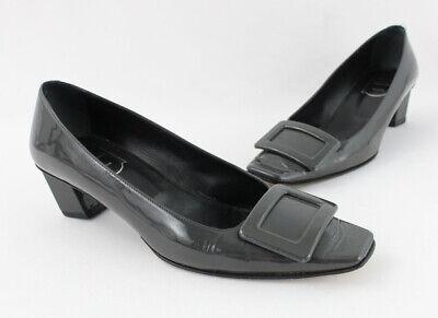 Roger Vivier Women's Gray Patent Leather Buckle Square Toe Heel Shoe Sz 38 US 8