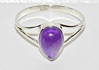 Amethyst Single Stone Ring (Sterling Silver Amethyst Single Stone Ring - Real 925 Silver - All)