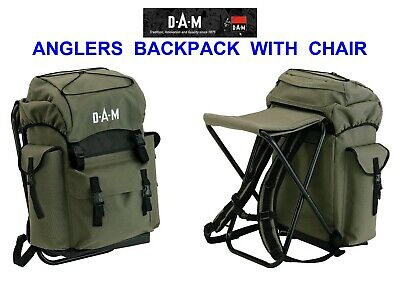 DAM ANGLERS BACKPACK WITH CHAIR SEA GAME COARSE FISHING RUCKSACK CARRYALL BAG