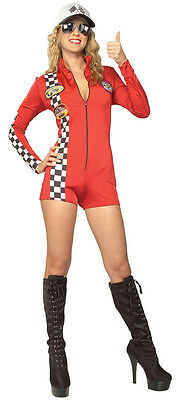 Red Racer Racecar Race Car Driver Romper Dress Up Halloween Sexy Adult Costume