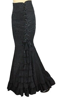 MERMAID JACQUARD FISHTAIL LONG CORSET GOTHIC VICTORIAN BLACK SKIRT STEAMPUNK