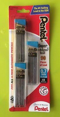 Pentel Super Hi-Polymer 0.7mm Medium Lead 30/pcs, 3pk (Pentel C27BPHB3-K6)