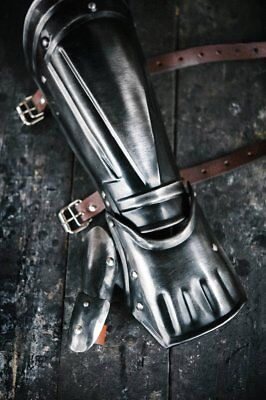 Medieval Single - Medieval Blackened steel single bracer from Berserk anime for Guts cosplay LOTR