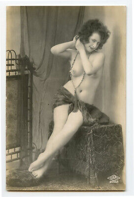 1920s  Nude French RPPC Real Photo Postcard RISQUE FLAPPER Beads Jewelry