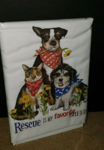 Mary Lake Thompson RESCUE MY FAVORITE Dog Cat  Kitchen Flour Sack Towel