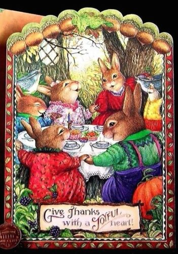 NEW SUSAN WHEELER Bunny Holly Pond Hill Prayer Birds Thanksgiving Greeting Card