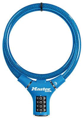 Masterlock Kabelschloß Blau Vinylbeschichtet, Fahrradschloss Zahlenschloss