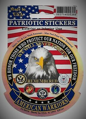 AMERICAN WARRIORS EAGLE MILITARY CAR VEHICLE WINDOW DECAL PATRIOTIC STICKER