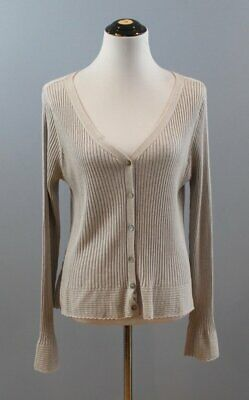 SUNDANCE CATALOG Sz XL Gray Ribbed Lace Trim Cardigan Sweater Silk Cashmere Lace Silk Sweater