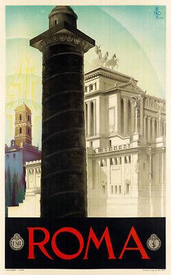 Roma 1930 Vintage Italian Travel Advertising Poster Giclee Canvas Print 20X32