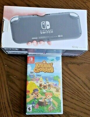 Brand New Nintendo Switch Lite Gray Console + Animal Crossing Bundle