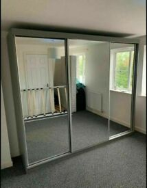 💖👌 STRONG & STRUDY 2 / 3 DOORS SLIDING WARDROBES WITH FULL MIRRORS, SHELVES, RAILS FAST DELIVERY