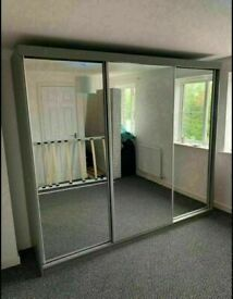 💥💯HALF OFF SALES 2020 ON 2/3 DOORS SLIDING WARDROBE WITH FULL MIRRORS ALL SHELVES & RAILS INCLUDED