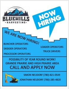 Experienced logging equipment operators needed.