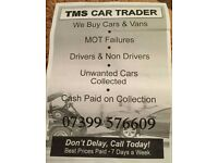 Tms cars vans 4x4 motorhomes wanted top prices paid runners non runners