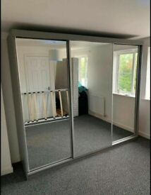 💥💯DISCOUNTed 2020 2/3 DOORS SLIDING WARDROBE WITH FULL MIRRORS ALL SHELVES & RAILS INCLUDED