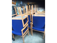 12 x Blue Meeting Chairs With Arms