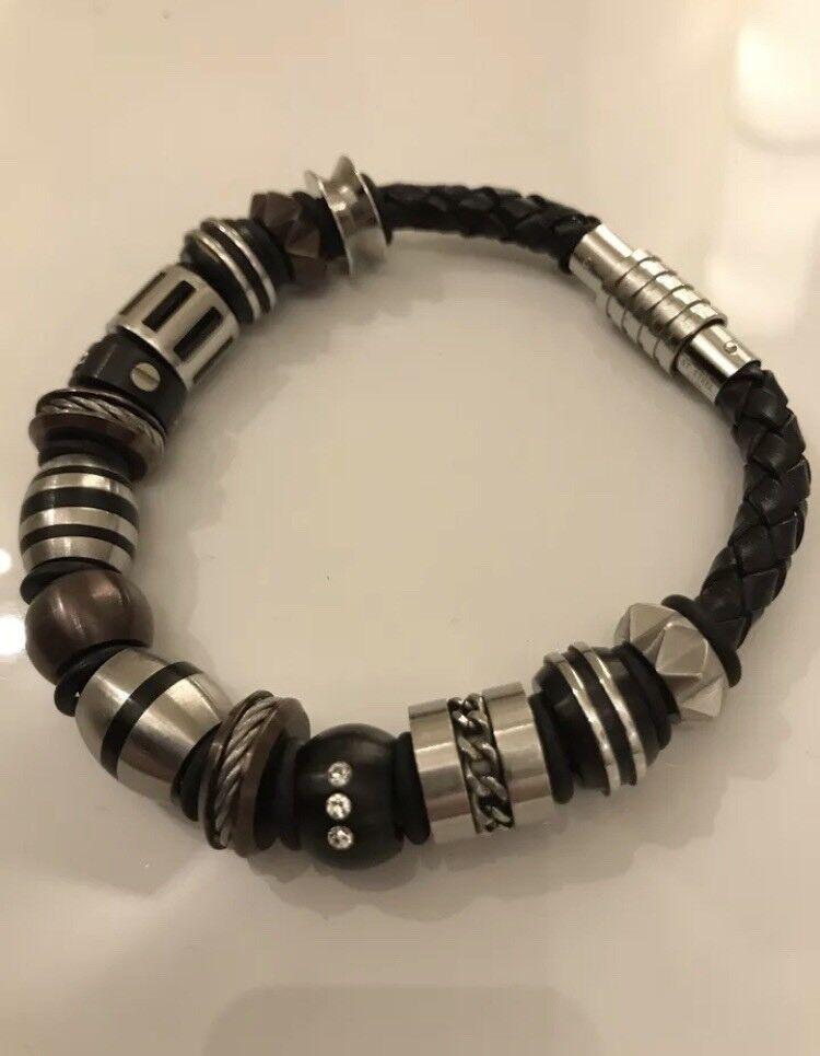 Spartan Black Leather Mens Bracelet