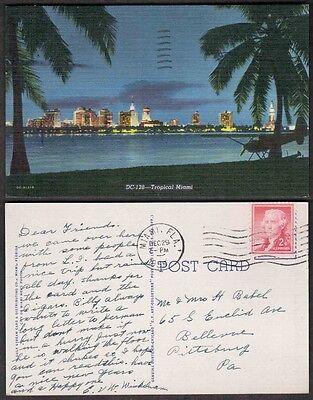 1955 Florida Postcard - Miami Skyline at Night