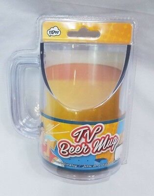 Novelty TV Beer Drinking Mug Angled For Better Viewing - Funny Gag Gift Beer