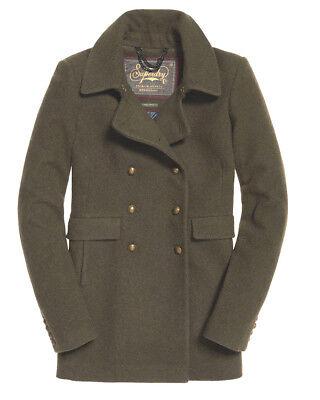 New Womens Superdry Winter Warm  PREMIUM Military  Khaki  Pea Coat Large